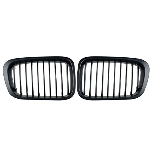 Price comparison product image Heart Horse Front Replacement Kidney Grille Grill Compatible With BMW E46 320i 323i 325i 328i 330i 4D 4 Door 3 Series Sedan 1998-2001 Matte Black