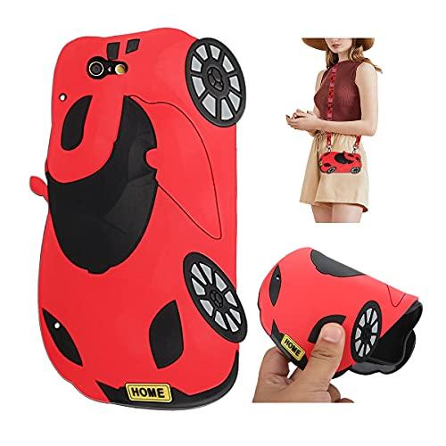 Artfeel Niedlich Handykette Hülle Kompatibel mit iPhone XR 6.1 Zoll,Süße Lustige 3D Karikatur Weich Silikon Umhängeband Schultergurt Handyhülle für Kinder Jungen Mädchen,Rot Auto