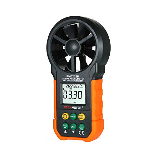 LaMei Yang Handheld-Multifunktions-Windgeschwindigkeitsmesser, digitales Anemometer Luftmenge/Temperatur/Luftfeuchtigkeit mit LCD-Hintergrundbeleuchtung, zum Wandern, Segeln, Drohnen usw.