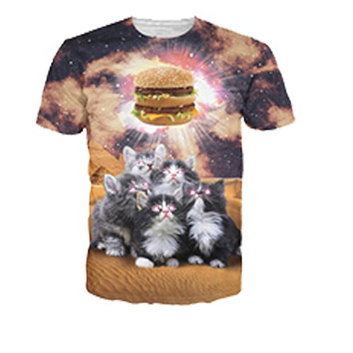Solar Kitten T-Shirt Cat Vomiting A Waterfall onto Earth Vibrant 3D Cat Tee Shirt Galaxy Nebula Space T Shirt Tops for Women Men a15 L