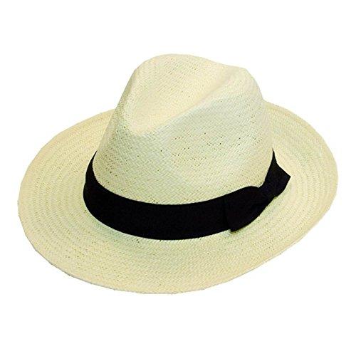 Chapeau mou en paille froissable pliable été fedora avec large ruban noir et nœud