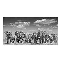 象の群れのキャンバスの絵画現代動物のポスターとプリントリビングルームの家の装飾のためのクアドロスの壁の芸術の写真50x100cmフレームなし