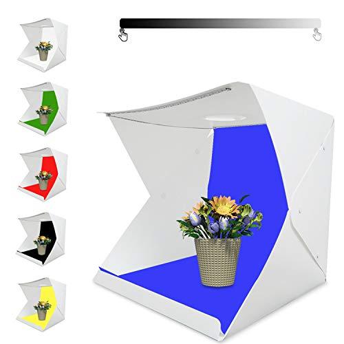 Tumax Mini Tragbares Fotostudio Schießzelt, Fotostudio 42×41×40cm,Kleine Faltbare LED Lichtbox Softbox Kit mit 6 Farben Backdrops für Fotografie,Faltbare Foto Studio Zelt