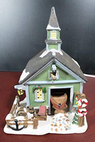 Vintage Christmas Light Up Holiday Village Ceramic Boat House