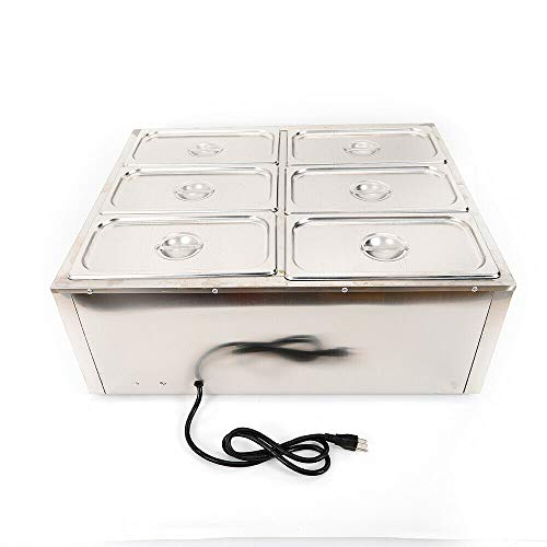 Electric Food Warmer, 6 Pot Stainless Steel Electric Food Warmer Buffet Server Heater, 850W Buffet Food Warmer Buffet Electric Countertop, 6-Pan Commercial Table Steamer for Catering and Restaurants