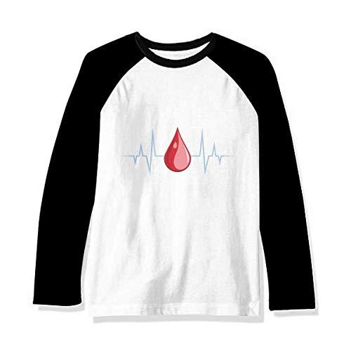 DIYthinker Camiseta de manga comprida raglã com estampa de sangue de eletrocardiograma, Multicor, XL