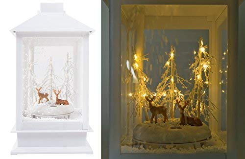 keine Angabe LED-Laterne schneiender Winterwald Weihnachtsdeko Fensterdeko Tanne Rehe Hirsche,Design:Hirsche dunkel