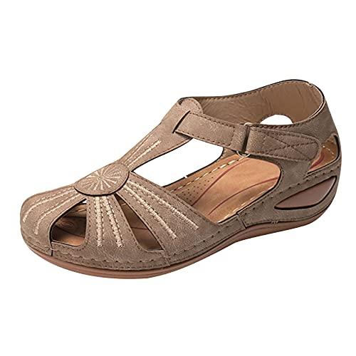 JHLIA Sandalias Mujer Verano Cuña Sandalias Cerradas Cómodos Casual Zapatos de Playa,2021 Zapatos Casuales de Gladiador de Bohemia Sandalias Planos de Plataforma con Punta Cerrada Slip-on Zapatos