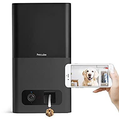 Petcube Bites Pet Camera with Treat Dispenser. Monitor Your Pet Remotely with HD 1080p Video, Two-Way Audio, Night Vision, Sound and Motion Alerts. For Dogs and Cats. Works with Alexa.