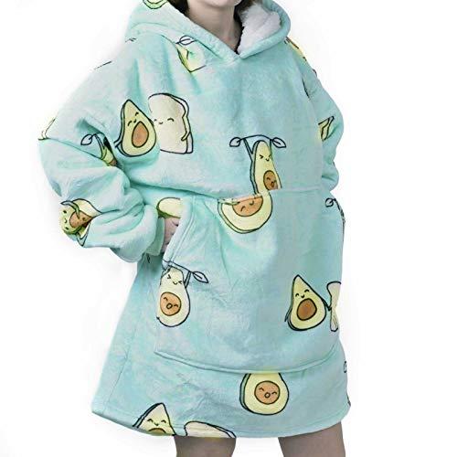 Ourelects Hooded Blanket Sofa Comfortable Blankets Winter Warm Pocket Hooded Blankets Adults Children Bathrobe Cozy Blanket Sweatshirt Plush Coral Fleece Blanket (Avocado)