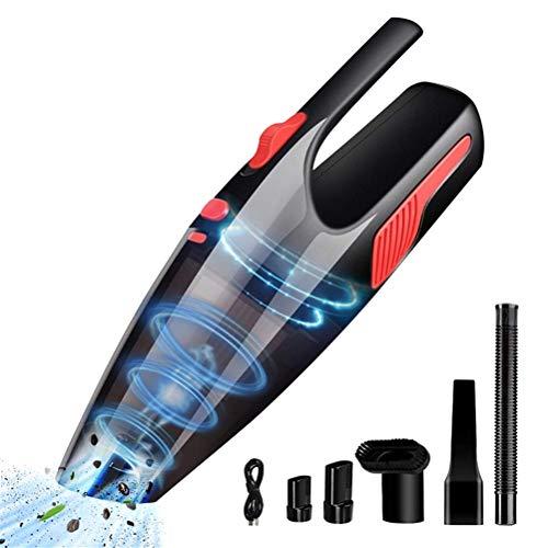 Aspirador de coche portátil inalámbrico de mano, mini aspirador en seco y húmedo con 4 boquillas diferentes y manguera de extensión de EVA para la limpieza del coche del pelo de mascotas en casa