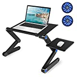 Laptop Table, Adjustable Laptop Bed Table, Laptop Computer Stand, Portable Laptop Workstation Notebook Stand Reading Holder with 2 CPU Cooling Fans and Mouse Pad in Sofa Bed Couch Office