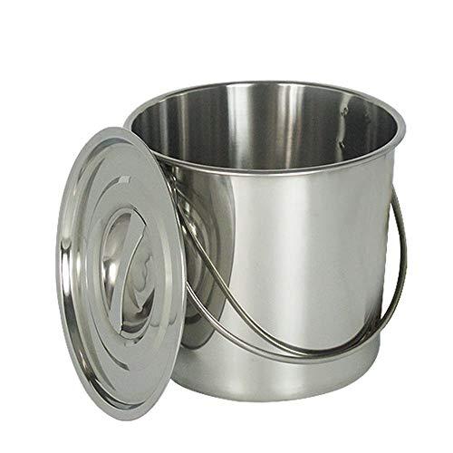 WUPYI2018 Eimer Edelstahleimer Kücheneimer Futtereimer Milcheimer Sektkühler EIS-Eimer mit Edelstahl Deckel,6L/12L (12 Liter)