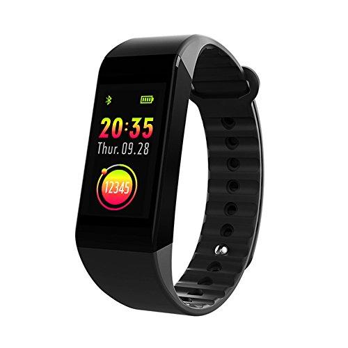 icefox Unisex Adult 1 1 Armband, Smart Fitness Trackers Uhr, Wasserdicht IP67 Bluetooth Aktivitätstracker mit Pulsmesser,Herzfrequenzmonitor,Schlafmonitor,Schrittzähler, Schwarz-03, 1