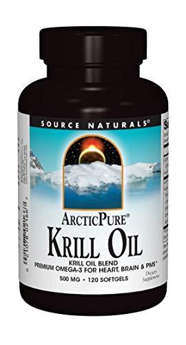 Source Naturals ArcticPure Krill Oil 500 mcg Premium Omega-3 for Heart, Brain, and PMS - 120 Softgels