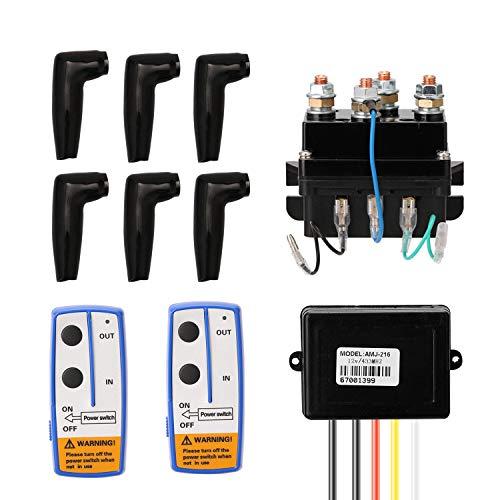 KKmoon Relé Electromagnético de Cabrestante Eléctrico,DC12V Universal 400A Winch Solenoid Relay,Juego de...