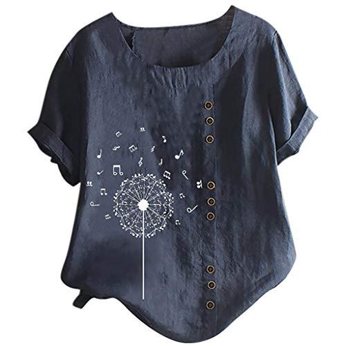 Yowablo Top Femmes O-Neck Manches Courtes imprimé Floral Boutons Coton Lin Vintage (M,4Marine)