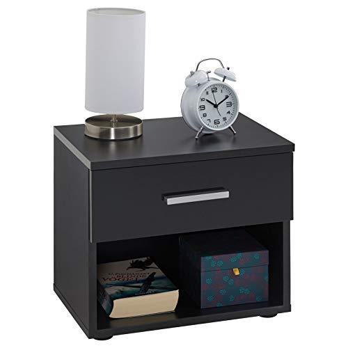 CARO-Möbel Nachttisch Nachtschrank Nachtkommode Mary schwarz, 42 x 38 x 30 cm, mit Schublade und offenem Fach