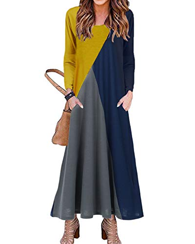 YOINS Keider Damen lang Patchwork Maxikleider Rundhals Kleider Baggy Kleid Fest Tasche Lose 3/4 Ärmel Langes Kleid Colorblock Strickkleider für Damen Colorblock-Dunkelblau M