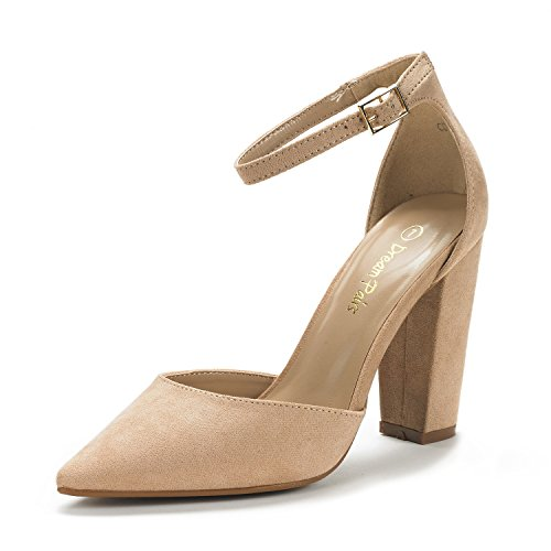 DREAM PAIRS Women's Coco Nude Suede Mid Heel Pump Shoes - 6 M US