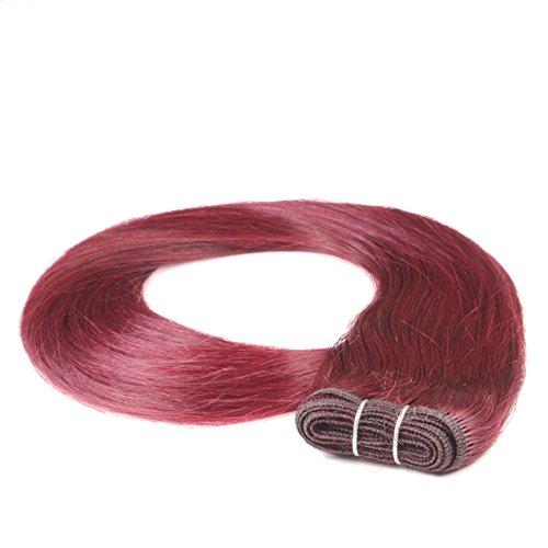 hair2heart Tresse / Weft aus Echthaar, 100g, 60cm, glatt - Farbe 99j burgundy