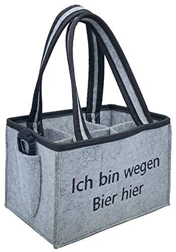 CLEENA Flaschentasche + Flaschenöffner Filz Biertasche Geschenk 6 Flaschen 0.5l (Schwarz ohne Aufschrift)