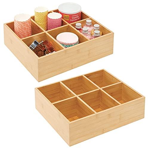 mDesign 2er-Set Teebox – elegante Aufbewahrungsbox mit 6 Fächern aus Bambus – Holzkiste für Teebeutel, Teeei, Gewürze und Co. – naturfarben