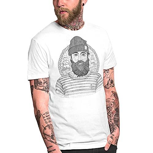 VIENTO Cool Captain Camiseta para Hombre (Blanco, 3XL)