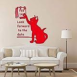 Estamos ansiosos por Salir con Gatos 14 de febrero Pegatinas de Pared Decoración para el hogar de San Valentín Sala de Estar Cartel de Papel Tapiz del Día de San Valentín C 42 cm x 50 cm
