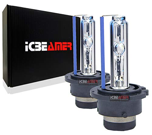 ICBEAMER 6000K D2S D2C D2R Xenon HID Direct Plugin Can Replace OEM Headlight Low Beam Light Bulbs [Diamond White] 2 pcs