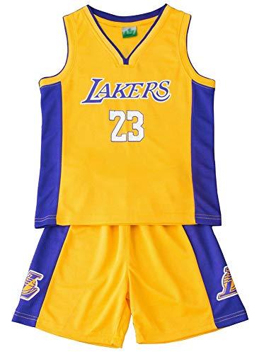 23# Trikot für Jungen und Mädchen, Basketball-Trikot, Set #23 Michael Jordan Lakers James #23 Chicago Bulls Basketball-Shorts, Kinder-Uniform, Top und Shorts, 123, gelb, XS(110
