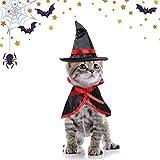 Disfraz de gato SACALA, gorro de bruja y capa de mago, disfraz para gatos y perros pequeños, decoración de Halloween para fiesta de cosplay, capa de mascota y gorro puntiagudo