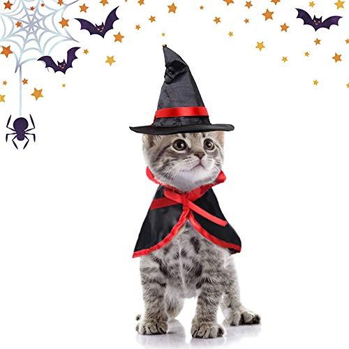 SACALA - Disfraz de gato de Halloween, sombrero de bruja y manto de mago para gatos y perros pequeños, decoración de Halloween para fiesta de cosplay, capa de mascota y gorro puntiagudo