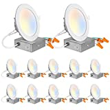 Hykolity 12 Pack 4 Inch 5CCT LED Recessed Ceiling Light with Junction Box, 2700K-5000K Color Temperature Selectable, CRI90, 10.5W=80W, 850lm, Dimmable Ultra-Thin Recessed Lighting Can-Killer Downlight