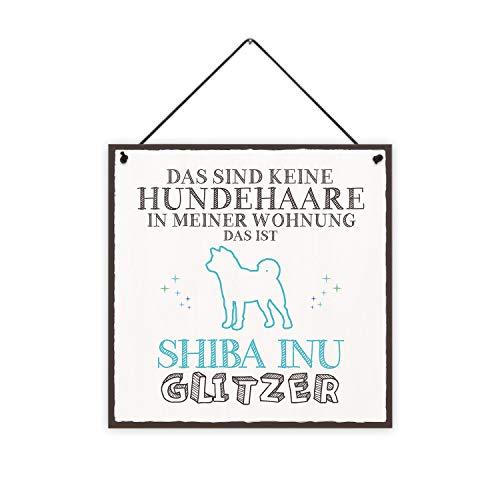 Fashionalarm Holzschild - Das sind Keine Hundehaare - Shiba Inu Glitzer Bedruckt | Deko-Schild mit Spruch als Geschenk-Idee für Hunde-Besitzer, ca. 20x20 cm, 8 mm