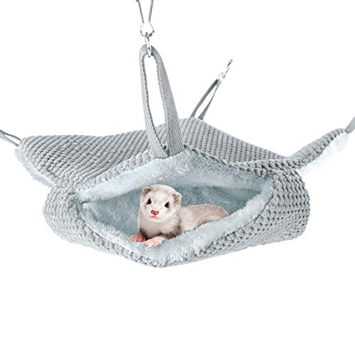 Niteangel Pet Hammock Swing Snuggle Sack for Ferret Rats Suger Glider Squirrels - Napping Bed Pocket (Grey)