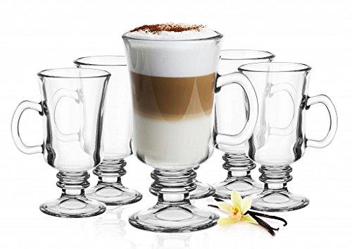 6 Irish Coffee Gläser mit Henkel und 6 Edelstahl-Löffeln (gratis) Latte Macchiato Glas
