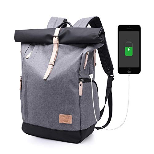 KAKA Wasserdichter Laptop-Rucksack, 15,6-Zoll-Männer-Frauen-Computer-Rucksack mit USB-Anschluss Roll-Top-BackpackAnti-Diebstahl-Rucksäcke für Reisen/Business/College (Grau)
