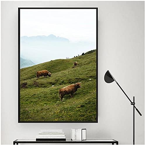 FUXUERUI Mountain Lake Highland Cow Landcape cuadro de arte de pared lienzo pintura cartel impreso para decoración de pared del hogar,40x60cm sin marco