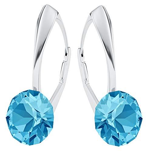 **Beforya Paris** *IMPECCABLE BRILLANTS* Silber 925 *Viele Farben* - Ohrringe mit Kristallen von Swarovski® - Schön Ohrringe Damen Ohrhänger - Wunderbare Ohrringe mit Schmuckbox (Aquamarine)