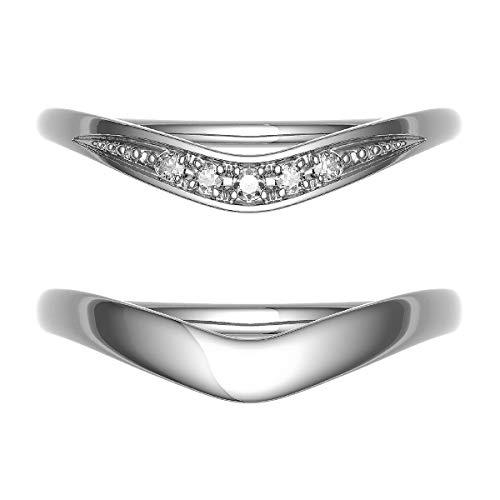 [ココカル]cococaru シルバー ペアリング 2本セット 結婚指輪 マリッジリング ダイヤモンド 日本製(レディースサイズ7号 メンズサイズ11号)