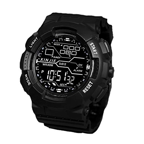 HBR Reloj Deportes Negro Reloj Deportivo Digital for Hombre Impermeable con cronógrafo de los Hombres de retroiluminación LED Accesorios de Moda