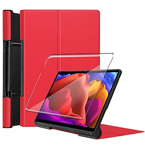 Tasch HYMY Funda para Lenovo Yoga Pad Pro + 1Pcs Vidrio Templado Lenovo Yoga Pad Pro Protectores Pantalla, Protector de Pantalla with Flip Cover Case Carcasa-Red