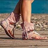 XLBHSH 2021 Sandalias de Mujer Gladiador Bohemio Retro Sandalias Casuales con Flecos Chanclas Planas Botines Zapatos de Playa Correa en Forma de T Sandalias,Leopardo,41