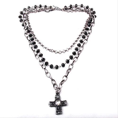 NC163 Collar de 3 Capas de joyería Tribal Bohemia de Moda con Varios Cristales de Vidrio Negro y Colgantes de Cadena Cruzada