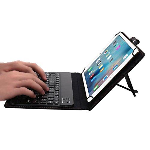 PETSOLA Teclado Bluetooth para Tableta de 9-10,1'y Estuche Desmontable con Soporte Ajustable