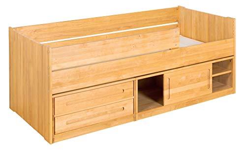 BioKinder Lina Stapelbed Functioneel bed Commodebed met schuifdeur, 2 lades en lange uitloopbeveiliging van massief hout Elzen 90 x 200 cm
