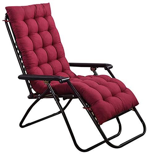 WZLL Auflagen Für Gartenliegen Terrasse Klappstuhlkissen Innen Draussen Schaukelstuhlpolster Verdicken rutschfest Sitzkissen Hochlehner (Kein Stuhl) (Color : Red, Size : 48x160cm)