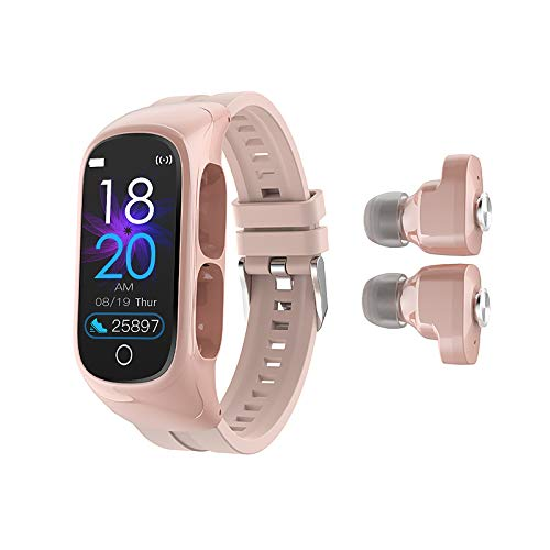 W@nyou Smart Watch with Bluetooth Earbuds,Fitness Tracker 2-1 Stereo Earphones Answer Calls Sleep Tracker Heart Rate Monitor Music Control Pedometer Calorie Counter for Android iOS(Pink)