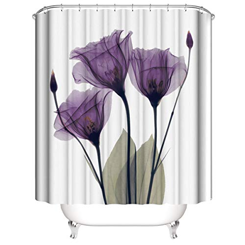 Muuyi Tulip Shower Curtain Set with Hooks - White Shower Curtains for Bathroom Fabric - Farmhouse Shower Curtain Waterproof Purple Flower Bathroom Decor Polyester Bath Curtain 72 x 72 Inches
